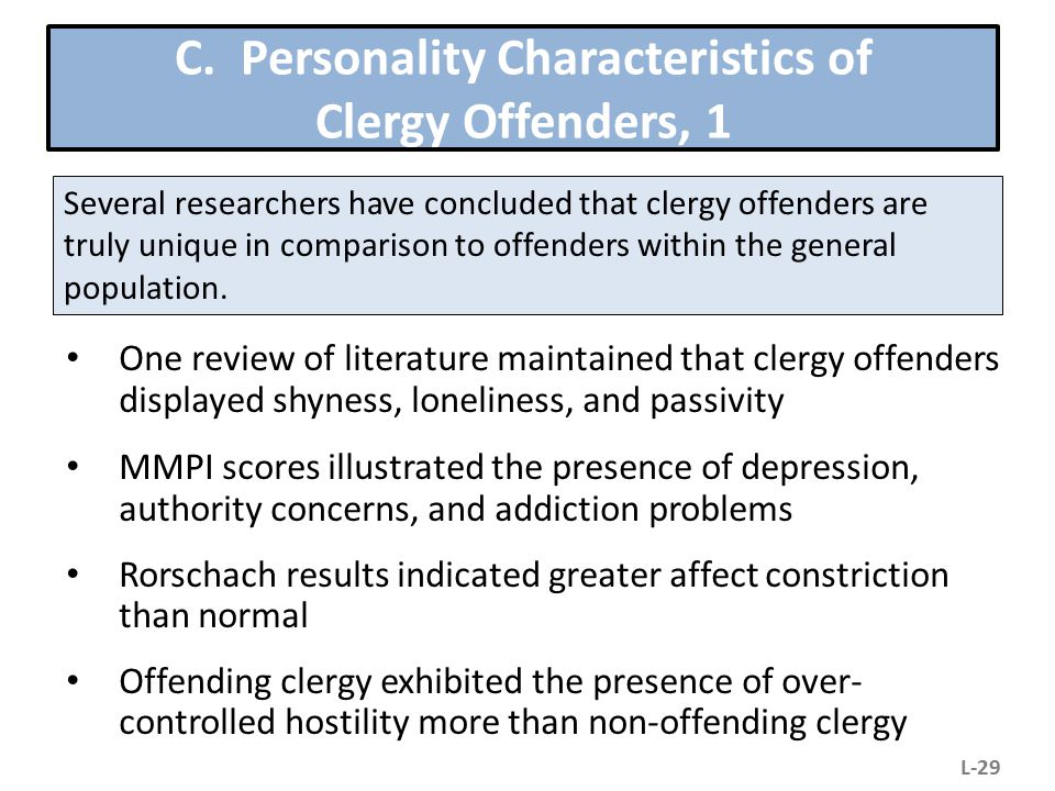 C. Personality Characteristics of Clergy Offenders, 1