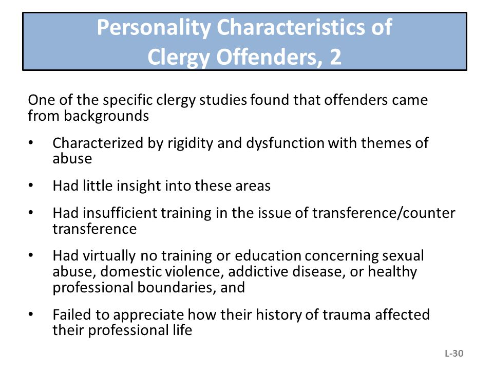 Personality Characteristics of Clergy Offenders, 2