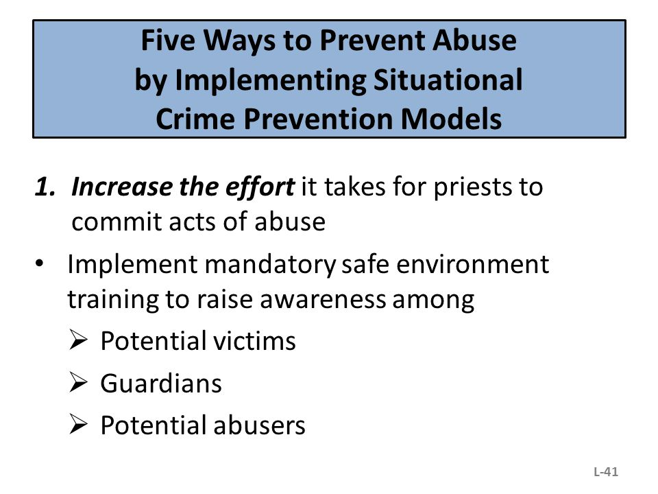 Five Ways to Prevent Abuse by Implementing Situational Crime Prevention Models