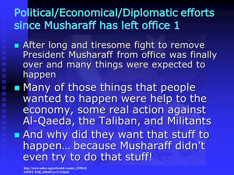 Political/Economical/Diplomatic efforts since Musharaff has left office 1