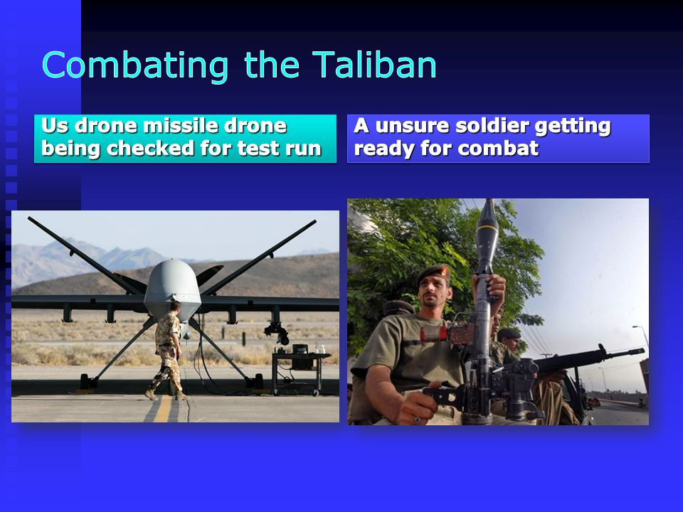 Combating the Taliban Us drone missile drone being checked for test run.