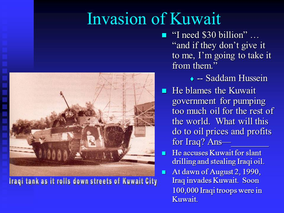 Iraqi tank as it rolls down streets of Kuwait City