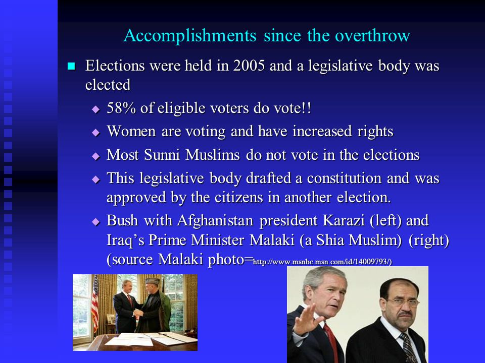 Accomplishments since the overthrow