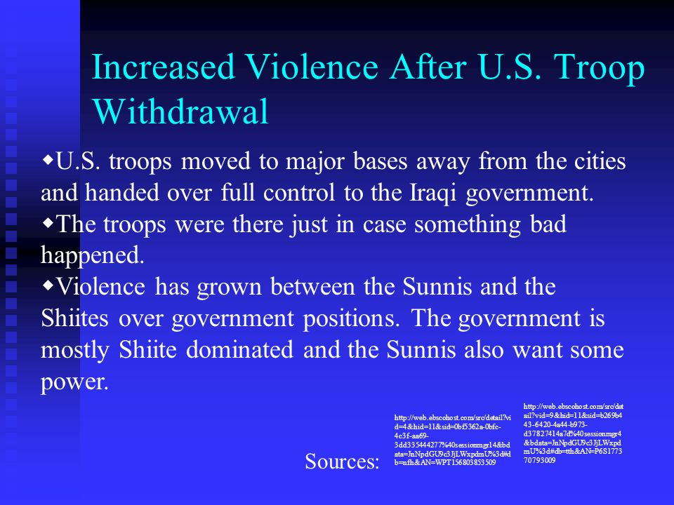 Increased Violence After U.S. Troop Withdrawal