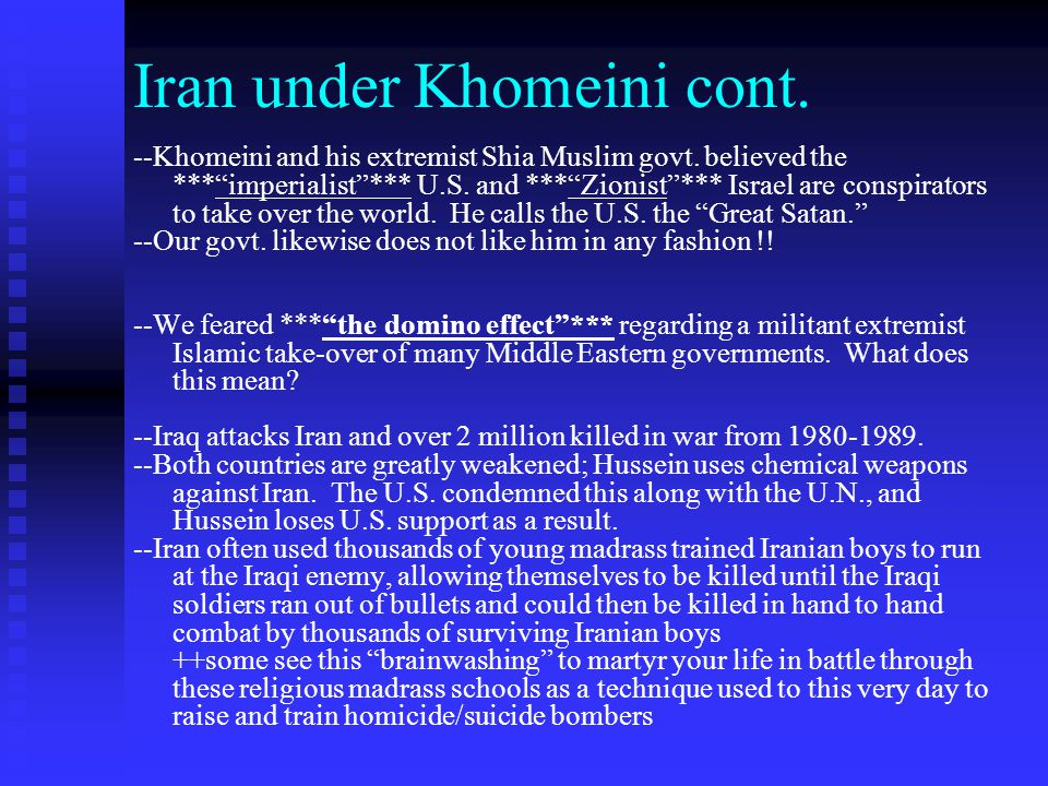 Iran under Khomeini cont.