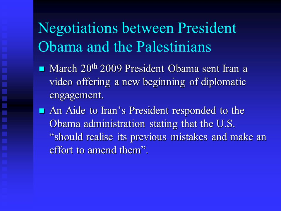 Negotiations between President Obama and the Palestinians
