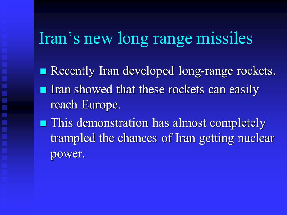 Iran's new long range missiles