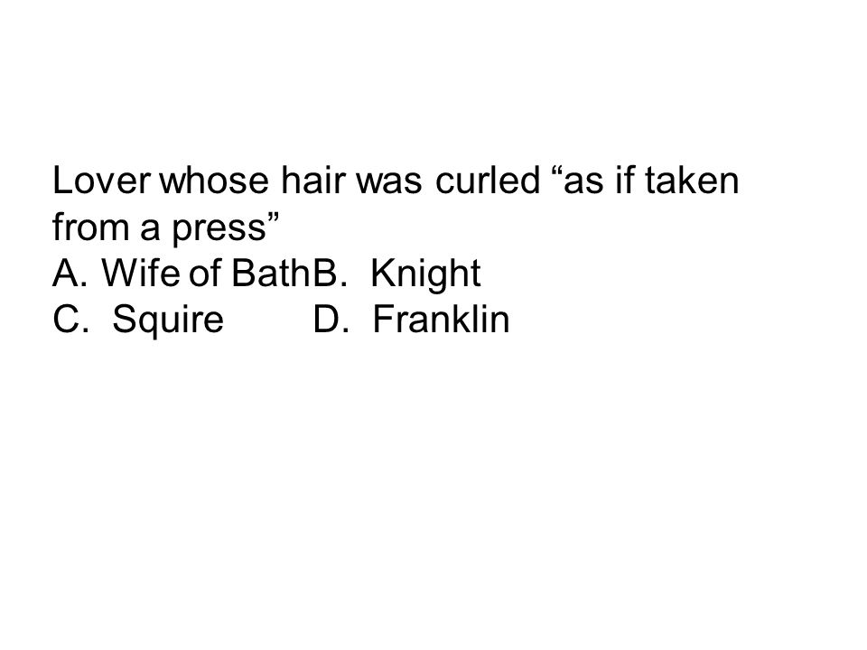 Lover whose hair was curled as if taken from a press