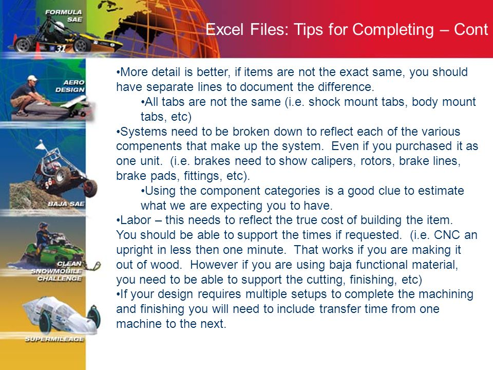 Excel Files: Tips for Completing – Cont