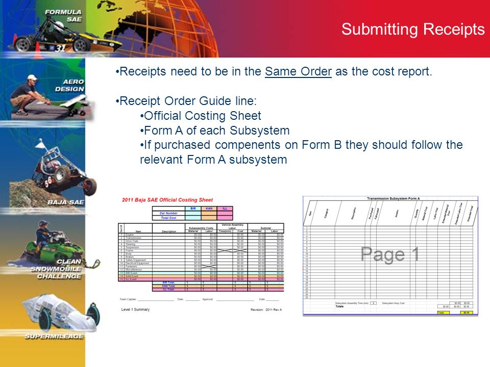 Submitting Receipts Receipts need to be in the Same Order as the cost report. Receipt Order Guide line: