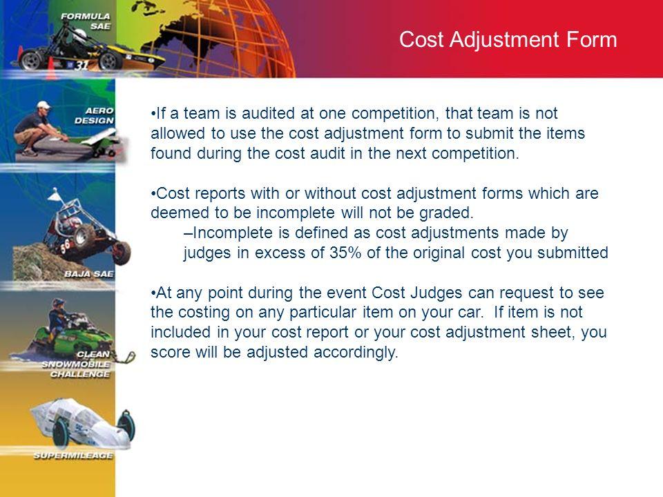 Cost Adjustment Form