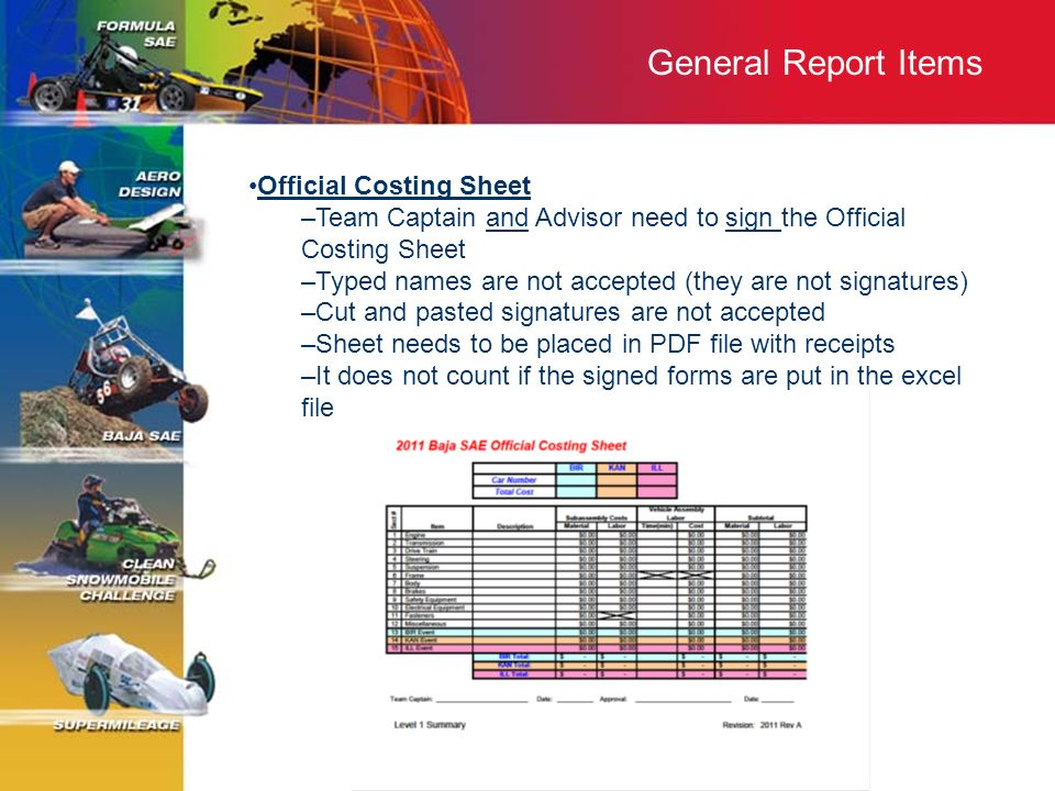 General Report Items Official Costing Sheet