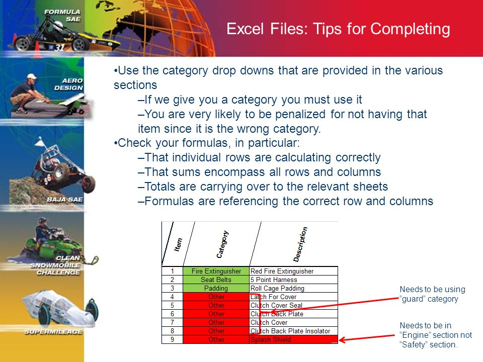 Excel Files: Tips for Completing