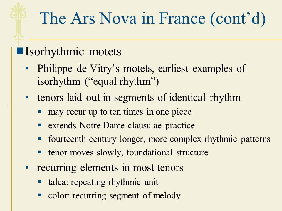 The Ars Nova in France (cont'd)