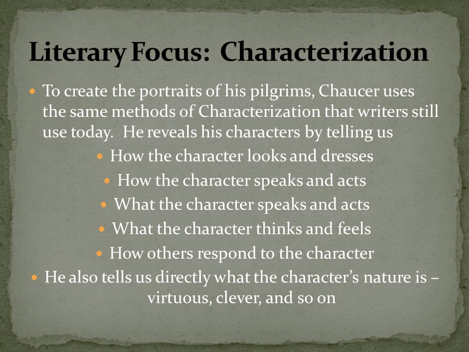 Literary Focus: Characterization