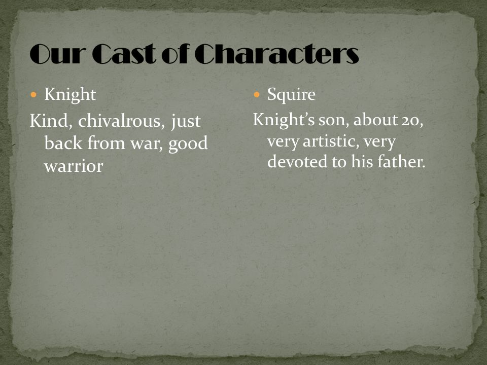 Our Cast of Characters Knight. Kind, chivalrous, just back from war, good warrior. Squire.