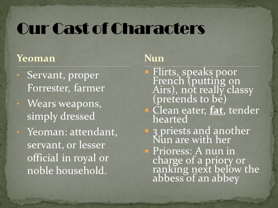 Our Cast of Characters Servant, proper Forrester, farmer