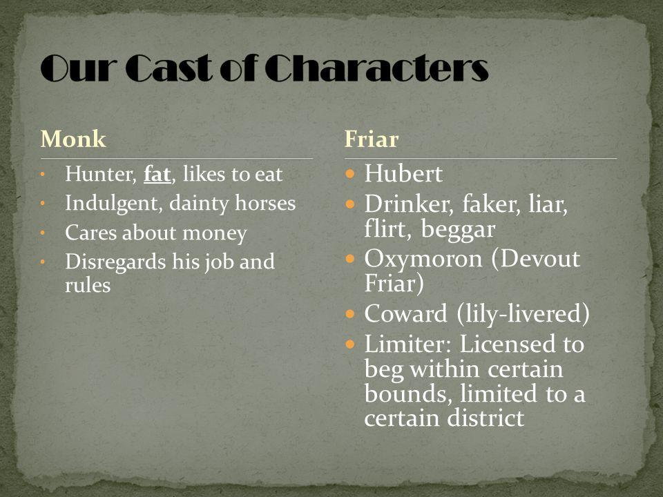 Our Cast of Characters Hubert Drinker, faker, liar, flirt, beggar