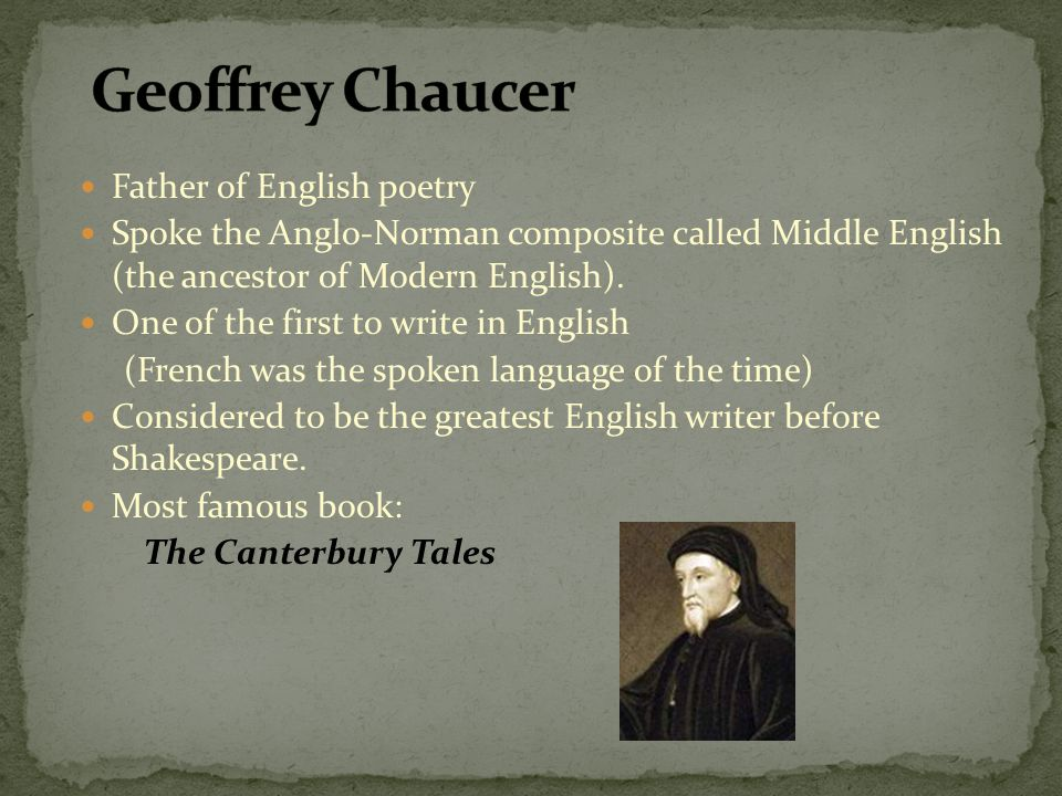 Geoffrey Chaucer Father of English poetry