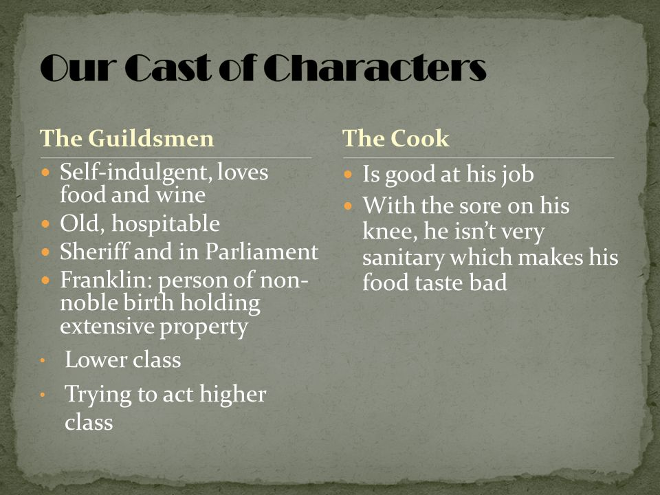 Our Cast of Characters The Guildsmen The Cook