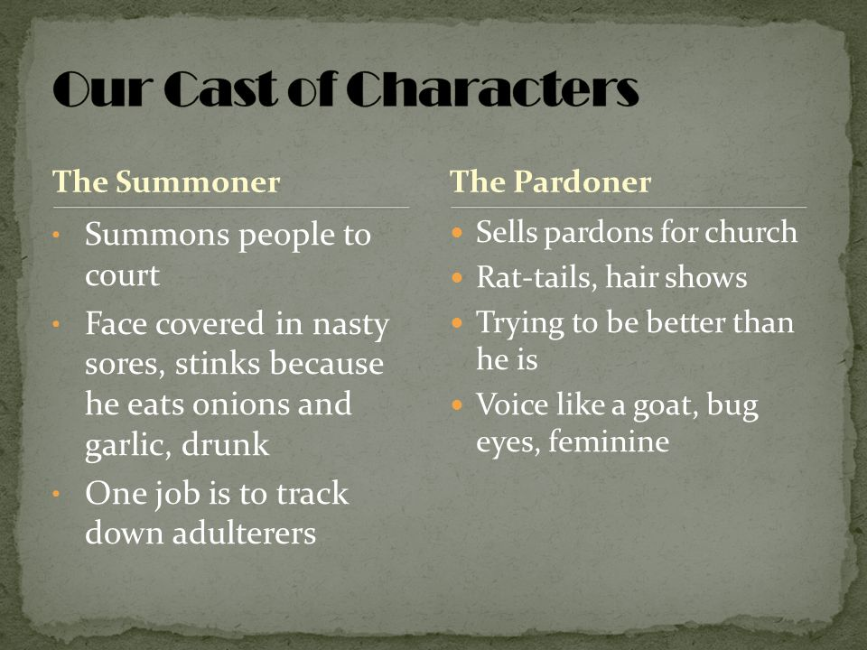 Our Cast of Characters Summons people to court