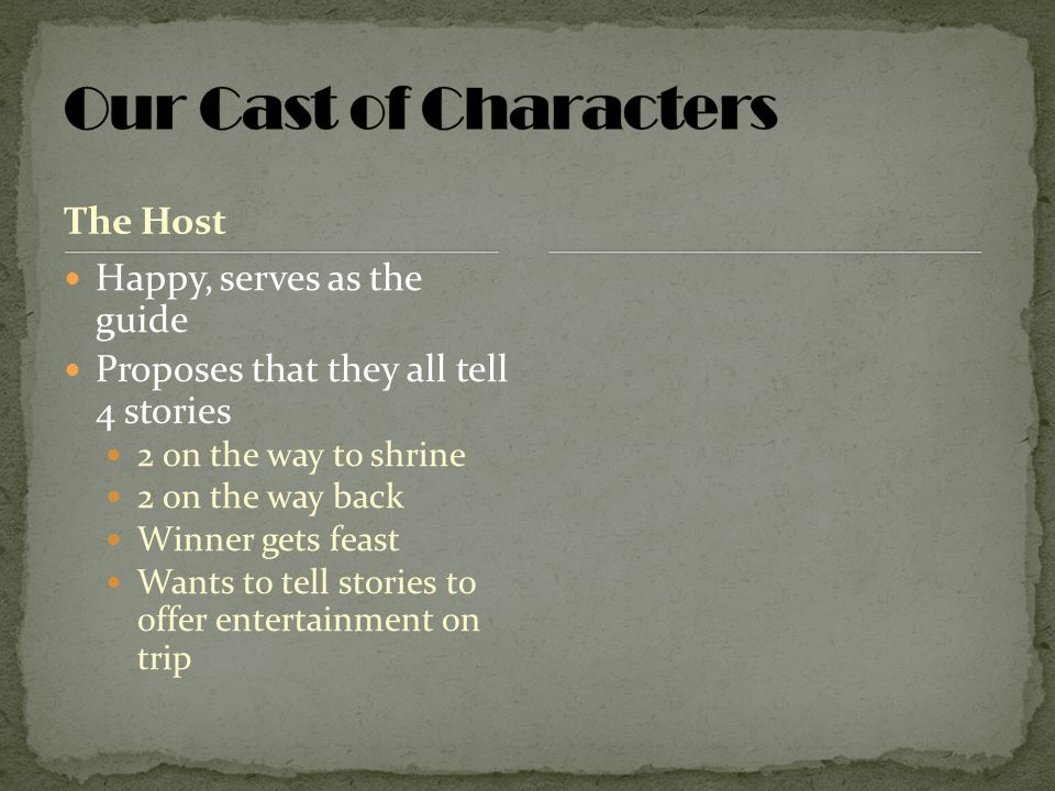 Our Cast of Characters The Host Happy, serves as the guide