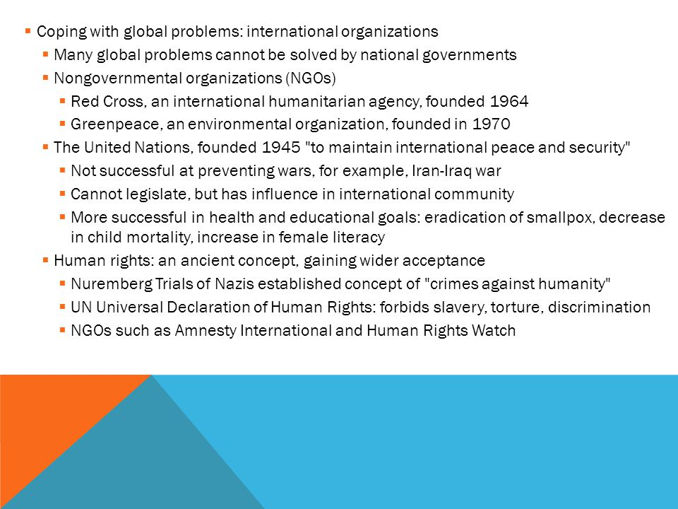 Coping with global problems: international organizations
