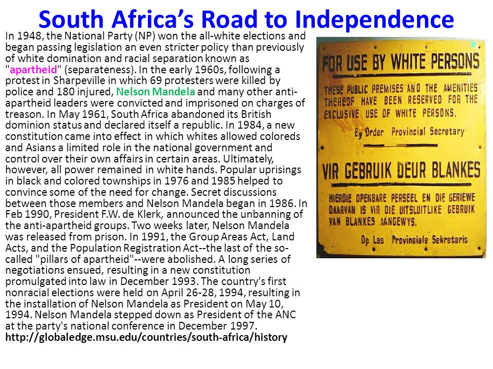 South Africa's Road to Independence