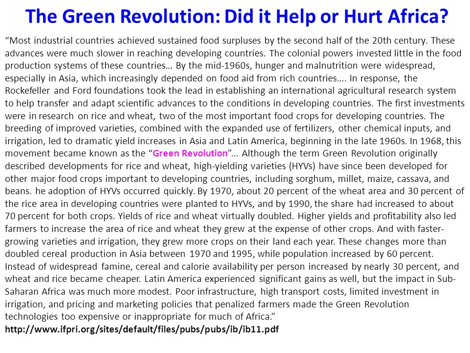 The Green Revolution: Did it Help or Hurt Africa