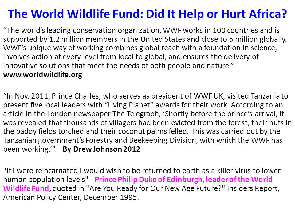 The World Wildlife Fund: Did It Help or Hurt Africa