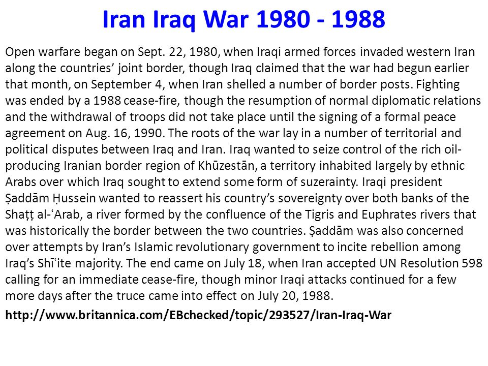 Iran Iraq War 1980 - 1988