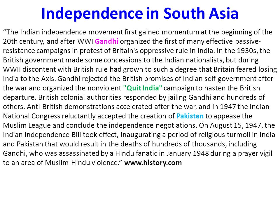 Independence in South Asia