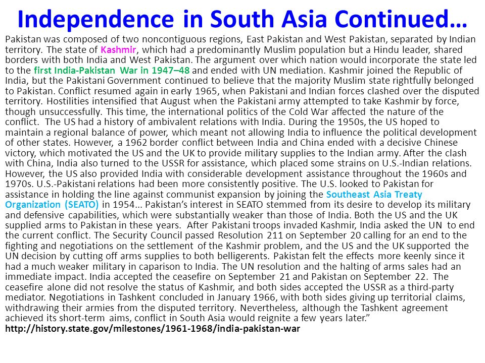 Independence in South Asia Continued…