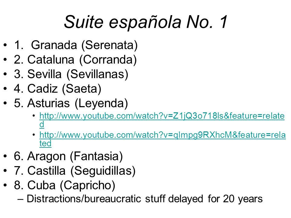 Suite española No. 1 1. Granada (Serenata) 2. Cataluna (Corranda)