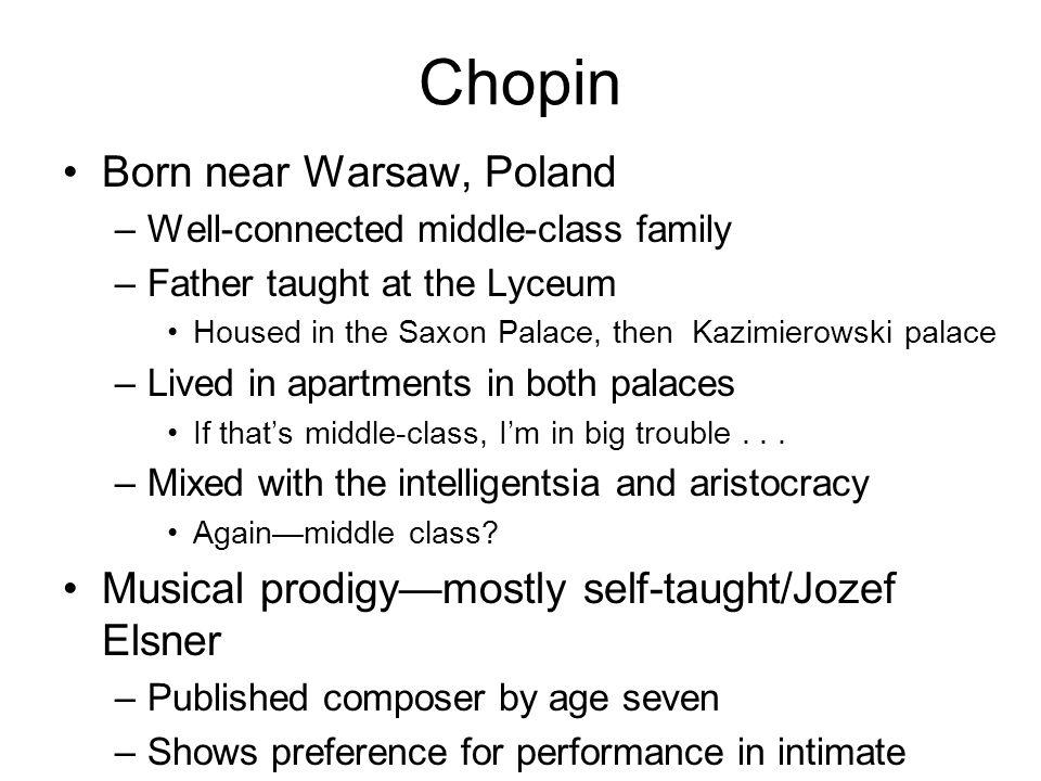 Chopin Born near Warsaw, Poland