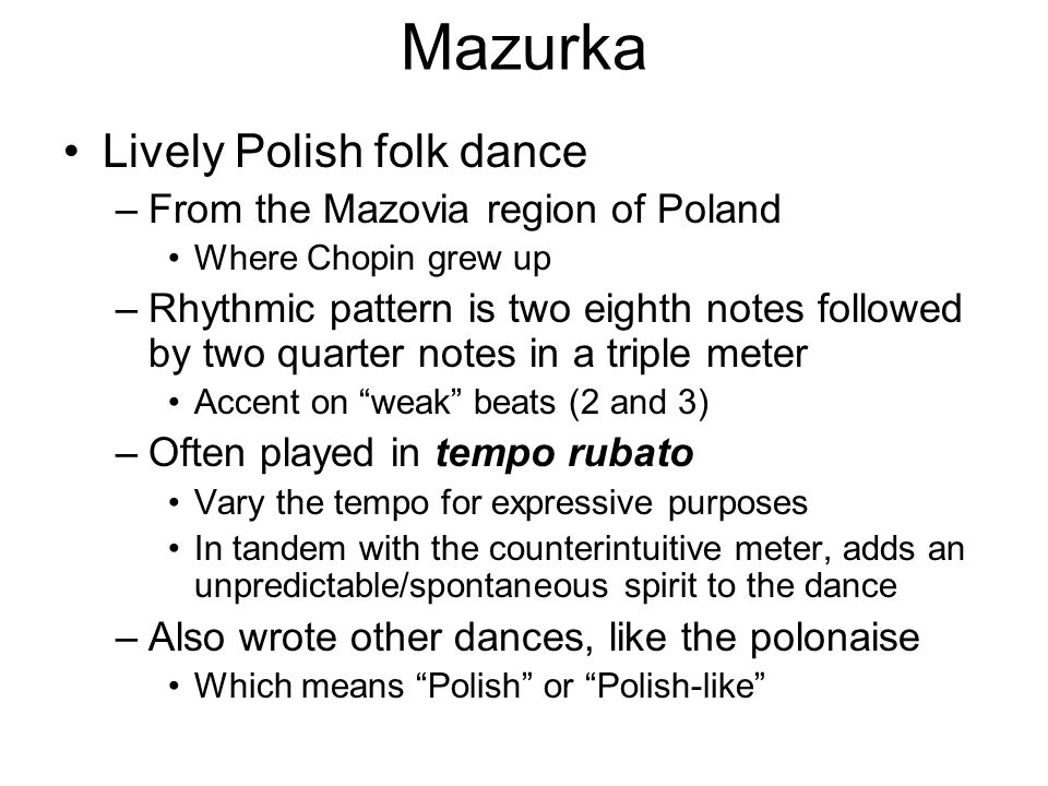 Mazurka Lively Polish folk dance From the Mazovia region of Poland