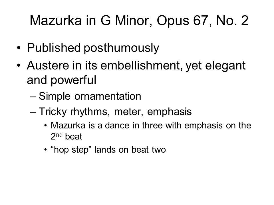 Mazurka in G Minor, Opus 67, No. 2