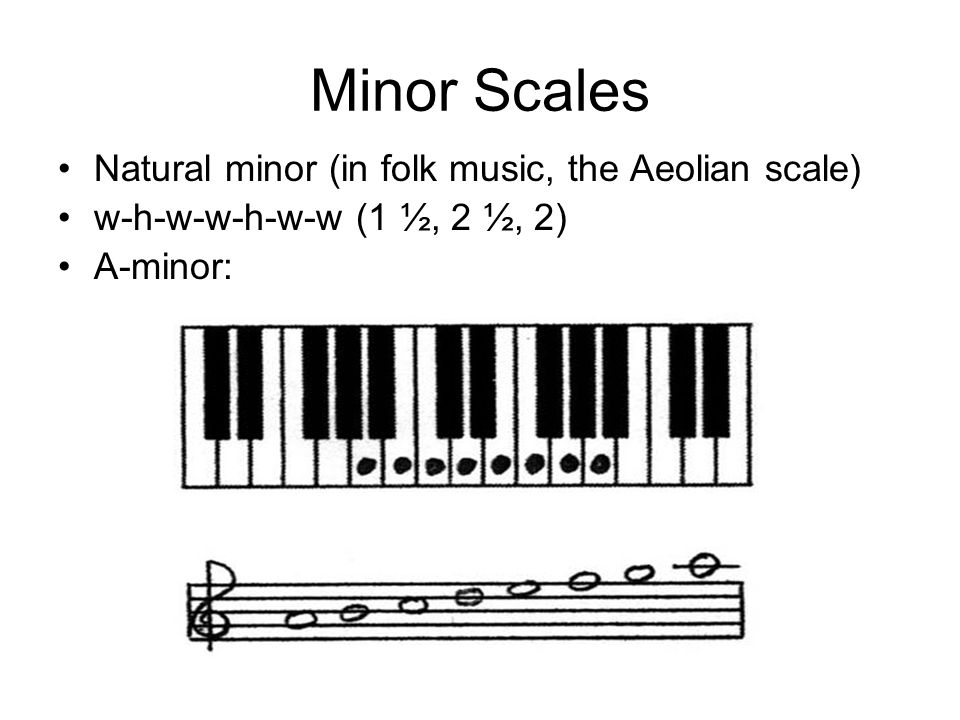 Minor Scales Natural minor (in folk music, the Aeolian scale)