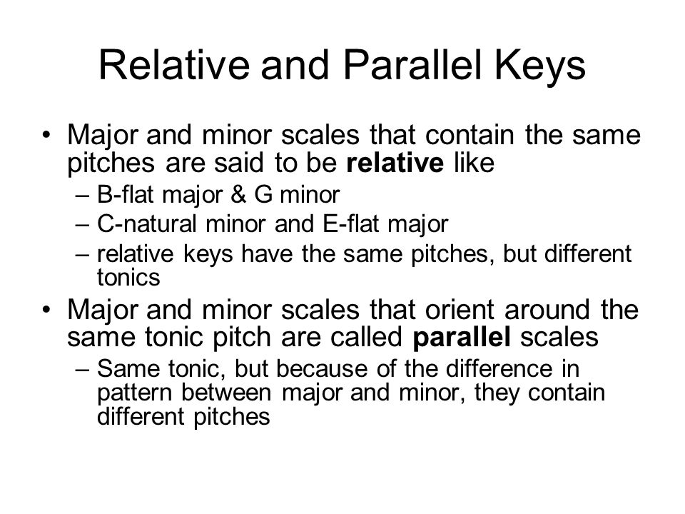 Relative and Parallel Keys