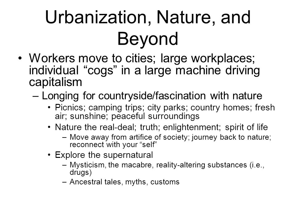 Urbanization, Nature, and Beyond