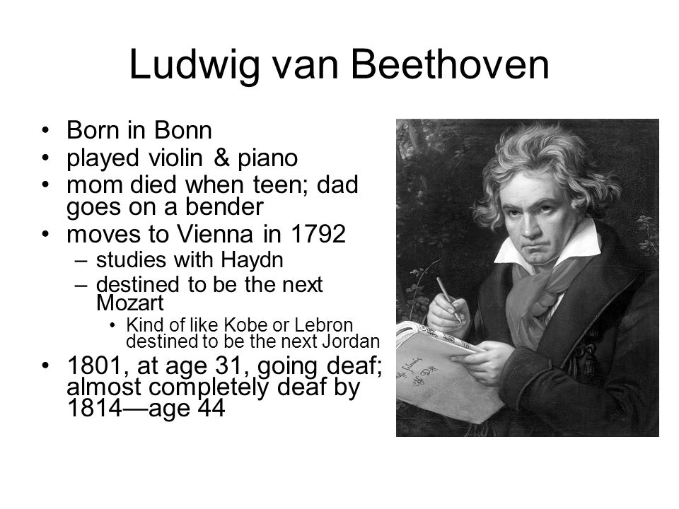 Ludwig van Beethoven Born in Bonn played violin & piano