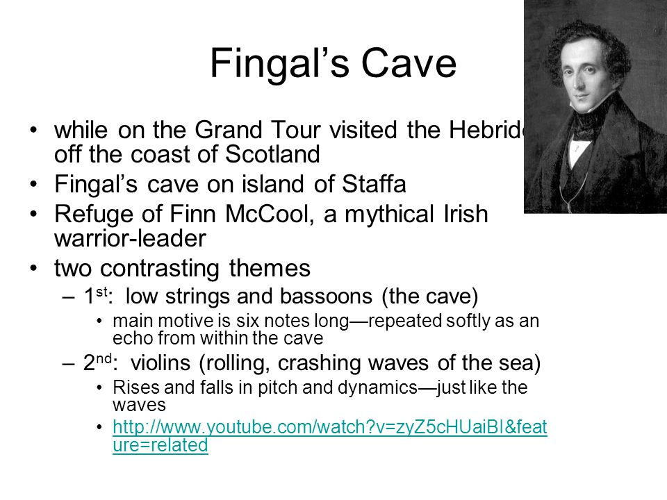 Fingal's Cave while on the Grand Tour visited the Hebrides off the coast of Scotland. Fingal's cave on island of Staffa.