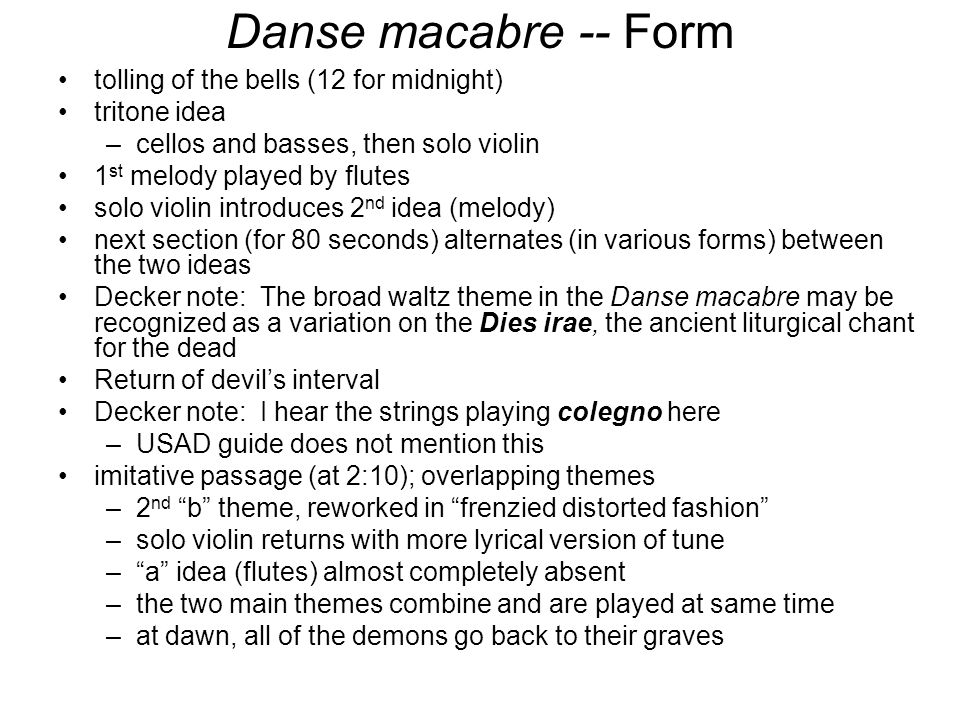Danse macabre -- Form tolling of the bells (12 for midnight)