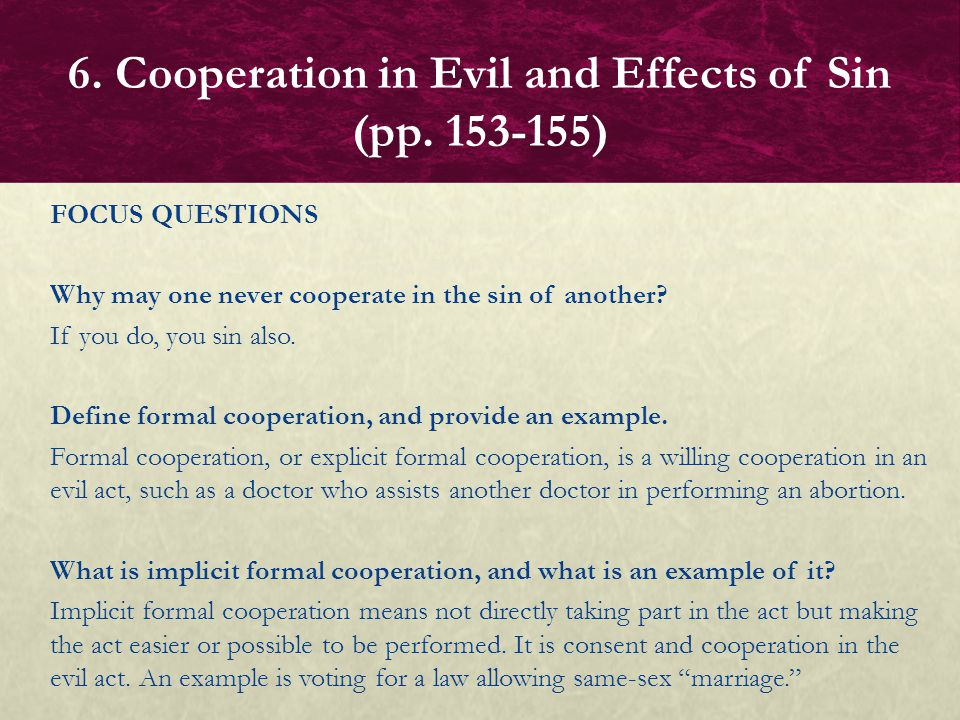 6. Cooperation in Evil and Effects of Sin (pp. 153-155)