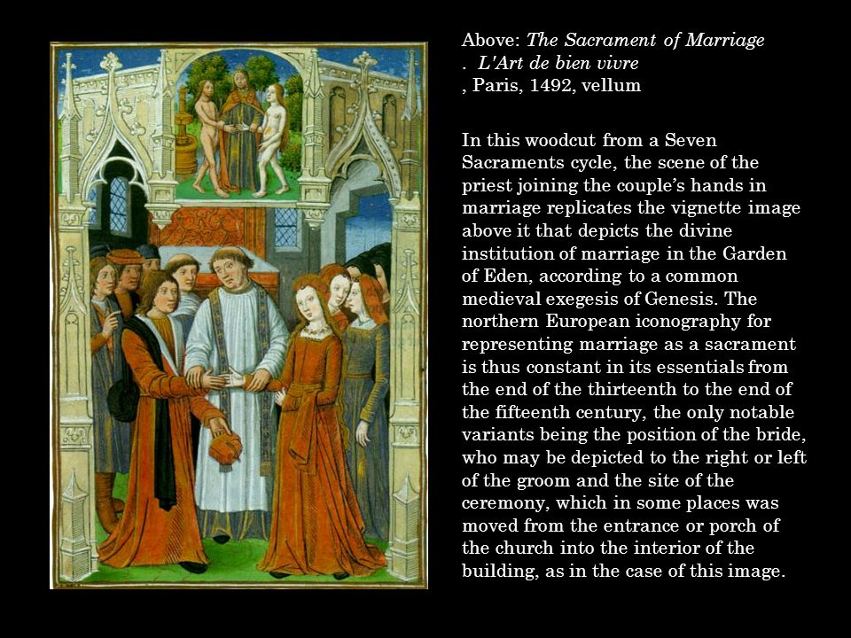Above: The Sacrament of Marriage