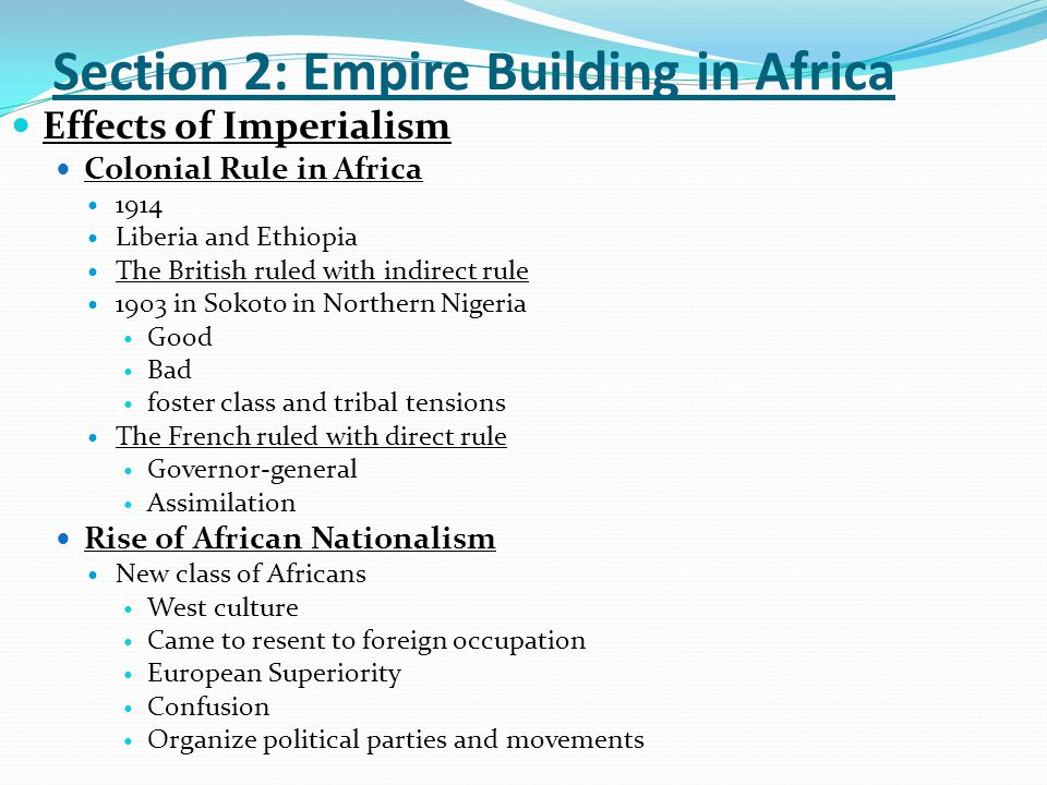 Section 2: Empire Building in Africa