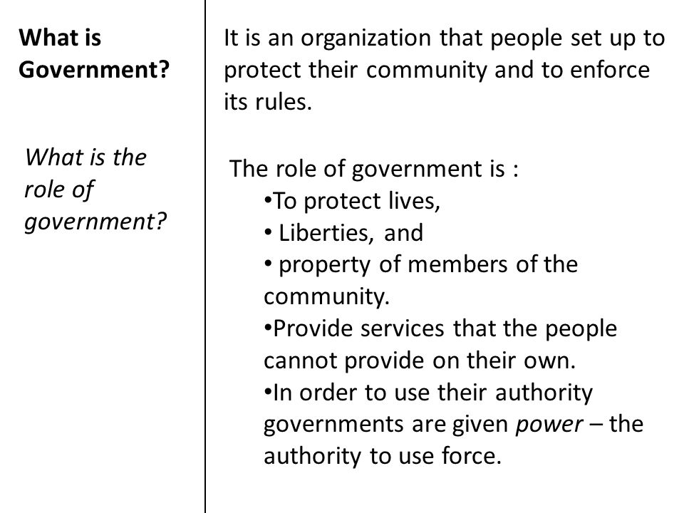 What is Government It is an organization that people set up to protect their community and to enforce its rules.