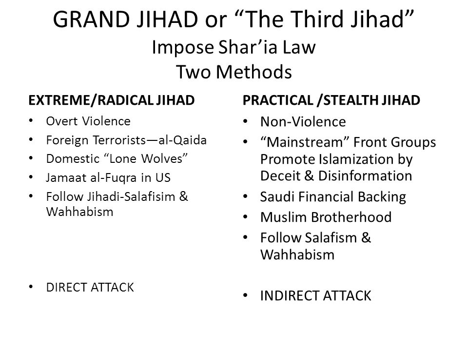 GRAND JIHAD or The Third Jihad Impose Shar'ia Law Two Methods