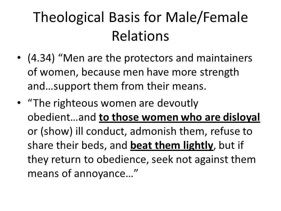 Theological Basis for Male/Female Relations