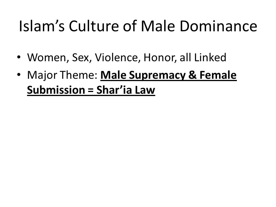 Islam's Culture of Male Dominance